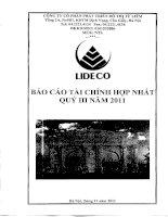 Báo cáo tài chính hợp nhất quý 3 năm 2011 - Công ty Cổ phần Phát triển Đô thị Từ Liêm