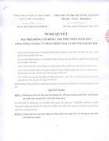 Nghị quyết Đại hội cổ đông thường niên năm 2012 - Tổng Công ty Đầu tư Phát triển Nhà và Đô thị Nam Hà Nội