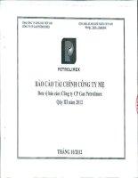 Báo cáo tài chính công ty mẹ quý 3 năm 2012 - Tổng Công ty Gas Petrolimex-CTCP