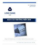 Báo cáo thường niên năm 2010 - Công ty cổ phần Đầu tư và Phát triển Đô thị Long Giang