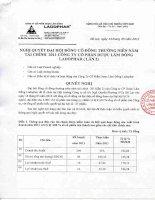 Nghị quyết Đại hội cổ đông thường niên năm 2012 - Công ty Cổ phần Dược Lâm Đồng - Ladophar