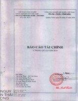 Báo cáo tài chính quý 3 năm 2014 - Công ty cổ phần Than Núi Béo – Vinacomin