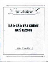 Báo cáo tài chính quý 2 năm 2015 - Công ty Cổ phần May Phú Thịnh - Nhà Bè