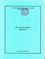 Báo cáo tài chính quý 3 năm 2012 - Công ty Cổ phần Khai thác và Chế biến Khoáng sản Lào Cai