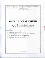 Báo cáo tài chính công ty mẹ quý 3 năm 2015 - Công ty Cổ phần Cơ điện và Xây dựng Việt Nam