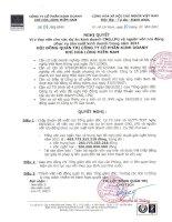 Nghị quyết Hội đồng Quản trị ngày 04-04-2011 - Công ty Cổ phần Kinh doanh Khí hóa lỏng Miền Nam