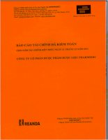 Báo cáo tài chính năm 2011 (đã kiểm toán) - Công ty Cổ phần Dược phẩm Dược liệu Pharmedic