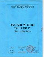 Báo cáo tài chính quý 1 năm 2010 - Tổng Công ty Tư vấn Thiết kế Dầu khí-CTCP