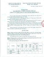 Nghị quyết Đại hội cổ đông thường niên - Công ty Cổ phần Tổng Công ty Xây lắp Dầu khí Nghệ An