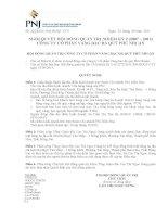 Nghị quyết Hội đồng Quản trị ngày 13-9-2011 - Công ty Cổ phần Vàng bạc Đá quý Phú Nhuận