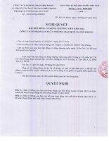 Nghị quyết Đại hội cổ đông thường niên - Công ty Cổ phần Sản xuất Thương mại Dịch vụ Phú Phong