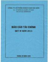 Báo cáo tài chính quý 4 năm 2013 - Công ty Cổ phần Khách sạn Sài Gòn