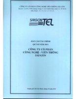 Báo cáo tài chính công ty mẹ quý 3 năm 2011 - Công ty Cổ phần Công nghệ Viễn thông Sài Gòn