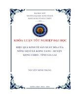 HIỆU QUẢ KINH tế sản XUẤT mía của NÔNG hộ ở xã KONG YANG HUYỆN KONG CHRO  1