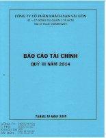 Báo cáo tài chính quý 3 năm 2014 - Công ty Cổ phần Khách sạn Sài Gòn