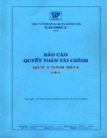 Báo cáo tài chính quý 1 năm 2014 - Công ty Cổ phần Hợp tác kinh tế và Xuất nhập khẩu SAVIMEX