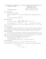 Đề thi tuyển sinh lớp 10 môn toán ninh bình năm học 2016   2017(có đáp án)