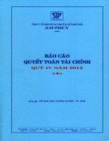 Báo cáo tài chính quý 4 năm 2012 - Công ty Cổ phần Hợp tác kinh tế và Xuất nhập khẩu SAVIMEX