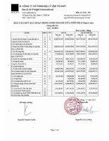 Báo cáo tài chính công ty mẹ quý 3 năm 2013 - Công ty Cổ phần Đại lý Vận tải SAFI
