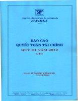 Báo cáo tài chính quý 3 năm 2012 - Công ty Cổ phần Hợp tác kinh tế và Xuất nhập khẩu SAVIMEX