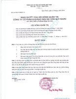 Nghị quyết Hội đồng Quản trị ngày 5-10-2010 - Công ty Cổ phần Khoáng sản Sài Gòn - Quy Nhơn