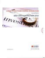 Báo cáo thường niên năm 2015 - Công ty Cổ phần Chứng khoán SHB