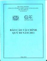 Báo cáo tài chính quý 3 năm 2011 - Công ty Cổ phần Thiết bị Phụ tùng Sài Gòn