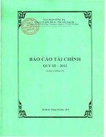 Báo cáo tài chính quý 3 năm 2012 - Công ty cổ phần Đầu tư - Phát triển Sông Đà