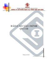 Báo cáo tài chính công ty mẹ quý 3 năm 2010 - Công ty Cổ phần Dịch vụ tổng hợp Sài Gòn