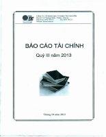 Báo cáo tài chính quý 3 năm 2013 - Công ty Cổ phần Đầu tư Điện Tây Nguyên