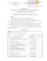 Nghị quyết Hội đồng Quản trị - Công ty Cổ phần Sông Đà 1