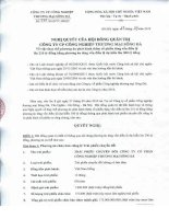 Nghị quyết Hội đồng Quản trị ngày 27-9-2010 - Công ty Cổ phần Công nghiệp Thương mại Sông Đà