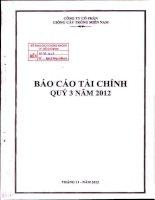 Báo cáo tài chính công ty mẹ quý 3 năm 2012 - Công ty Cổ phần Giống cây trồng Miền Nam