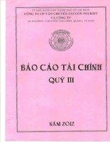 Báo cáo tài chính hợp nhất quý 3 năm 2012 - Công ty cổ phần Vận chuyển Sài Gòn Tourist