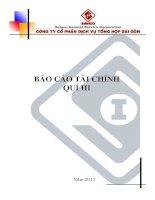 Báo cáo tài chính công ty mẹ quý 3 năm 2012 - Công ty Cổ phần Dịch vụ tổng hợp Sài Gòn