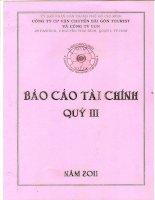 Báo cáo tài chính hợp nhất quý 3 năm 2011 - Công ty cổ phần Vận chuyển Sài Gòn Tourist