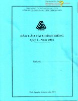 Báo cáo tài chính công ty mẹ quý 1 năm 2016 - Công ty cổ phần Gang thép Thái Nguyên