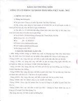Báo cáo thường niên năm 2012 - Công ty Cổ phần Tập đoàn Thái Hòa Việt Nam
