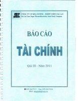 Báo cáo tài chính quý 3 năm 2011 - Công ty Cổ phần Mía đường Nhiệt điện Gia Lai