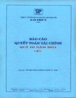 Báo cáo tài chính công ty mẹ quý 3 năm 2011 - Công ty Cổ phần Hợp tác kinh tế và Xuất nhập khẩu SAVIMEX