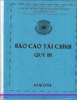 Báo cáo tài chính hợp nhất quý 3 năm 2014 - Công ty cổ phần Vận chuyển Sài Gòn Tourist