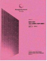Báo cáo tài chính hợp nhất quý 2 năm 2011 - Công ty Cổ phần Tập đoàn Đầu tư Thăng Long