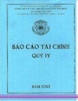 Báo cáo tài chính hợp nhất quý 4 năm 2013 - Công ty cổ phần Vận chuyển Sài Gòn Tourist
