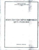 Báo cáo tài chính hợp nhất quý 4 năm 2011 - Công ty Cổ phần Giống cây trồng Miền Nam