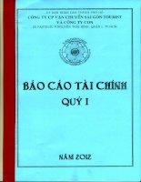 Báo cáo tài chính hợp nhất quý 1 năm 2012 - Công ty cổ phần Vận chuyển Sài Gòn Tourist