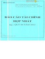 Báo cáo tài chính hợp nhất quý 3 năm 2012 - Công ty Cổ phần Địa ốc Sài Gòn Thương Tín