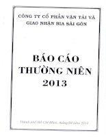 Báo cáo thường niên năm 2013 - Công ty Cổ phần Vận tải và Giao nhận bia Sài Gòn