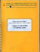 Báo cáo tài chính năm 2006 (đã kiểm toán) - Công ty Cổ phần Kỹ Nghệ Lạnh