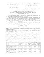 Nghị quyết Hội đồng Quản trị ngày 22-12-2009 - Công ty Cổ phần Công nghiệp Thương mại Sông Đà