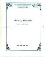 Báo cáo tài chính công ty mẹ quý 4 năm 2011 - Công ty Cổ phần Xây dựng hạ tầng Sông Đà